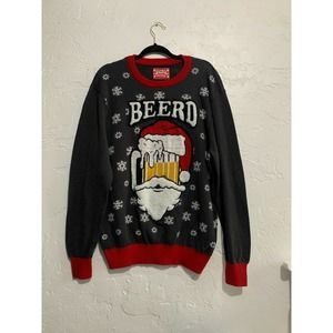 Mens Ugly Christmas Knit Sweater Beerd XL